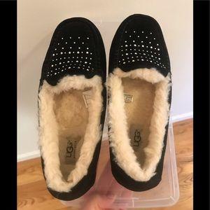 UGG Shoes - Ugg black suede moccasins with rhinestones